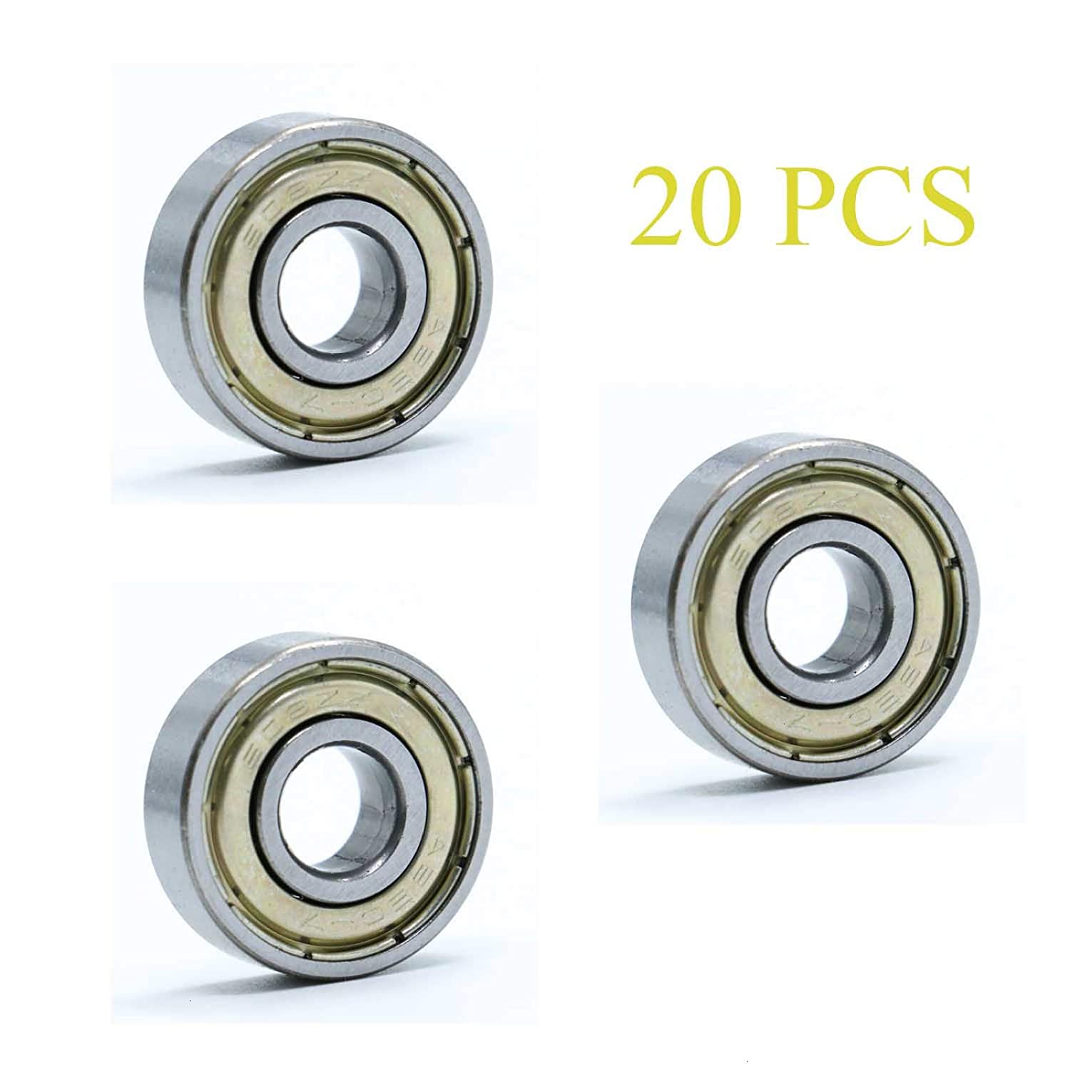 AQUEENLY 20 PCS 608 zz Bearing Precision Deep Groove Ball Bearings for Skateboard Roller Skates Scooters 3D Printer RepRap Wheel 8x22x7mm