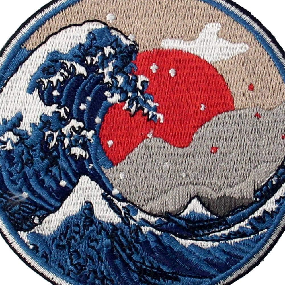 ZEGIN Aufn/äher Design: Gro/ße Welle vor Kanagawa zum Aufb/ügeln oder Aufn/ähen Bestickt