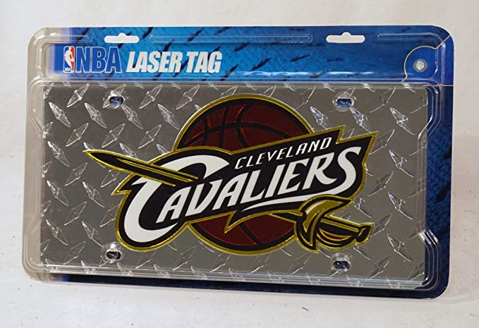 Cleveland Cavaliers Logo Car Tag Diamond Etched on Black Aluminum License Plate