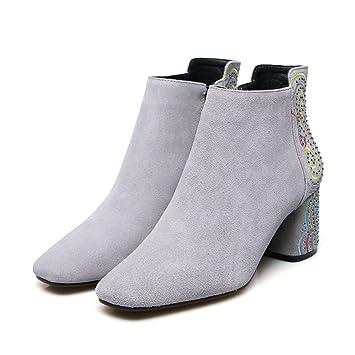 Best 4U® Zapatos de mujer Botines de gamuza de invierno Botines de punta cuadrada Botines Botines Rivet Rhinestone Bordado Negro: Amazon.es: Deportes y aire ...