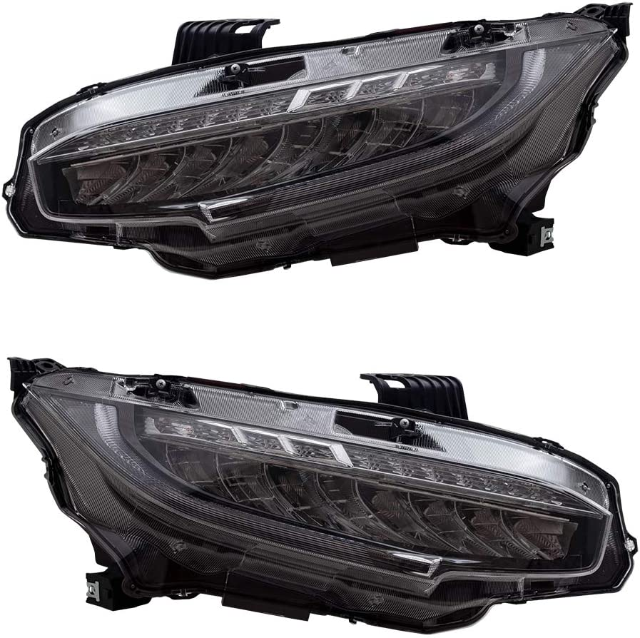 Driver /& Passenger Sides Blue Starting Light Honda Civic Sedan 2016 2017 2018 2019 YAA-SY-2029-H H//L Beam Lens YUANZHENG Full LED Headlight Assembly for with Sequential Turn Signal DRLs