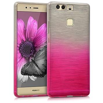 kwmobile Funda para Huawei P9 - Carcasa de [TPU] para móvil y diseño de Aluminio Degradado en [Rosa Fucsia/Plata]