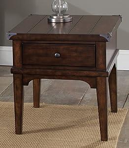 "Liberty Furniture Industries Aspen Skies End Table, 23"" x 27"" x 24"", Medium Brown"