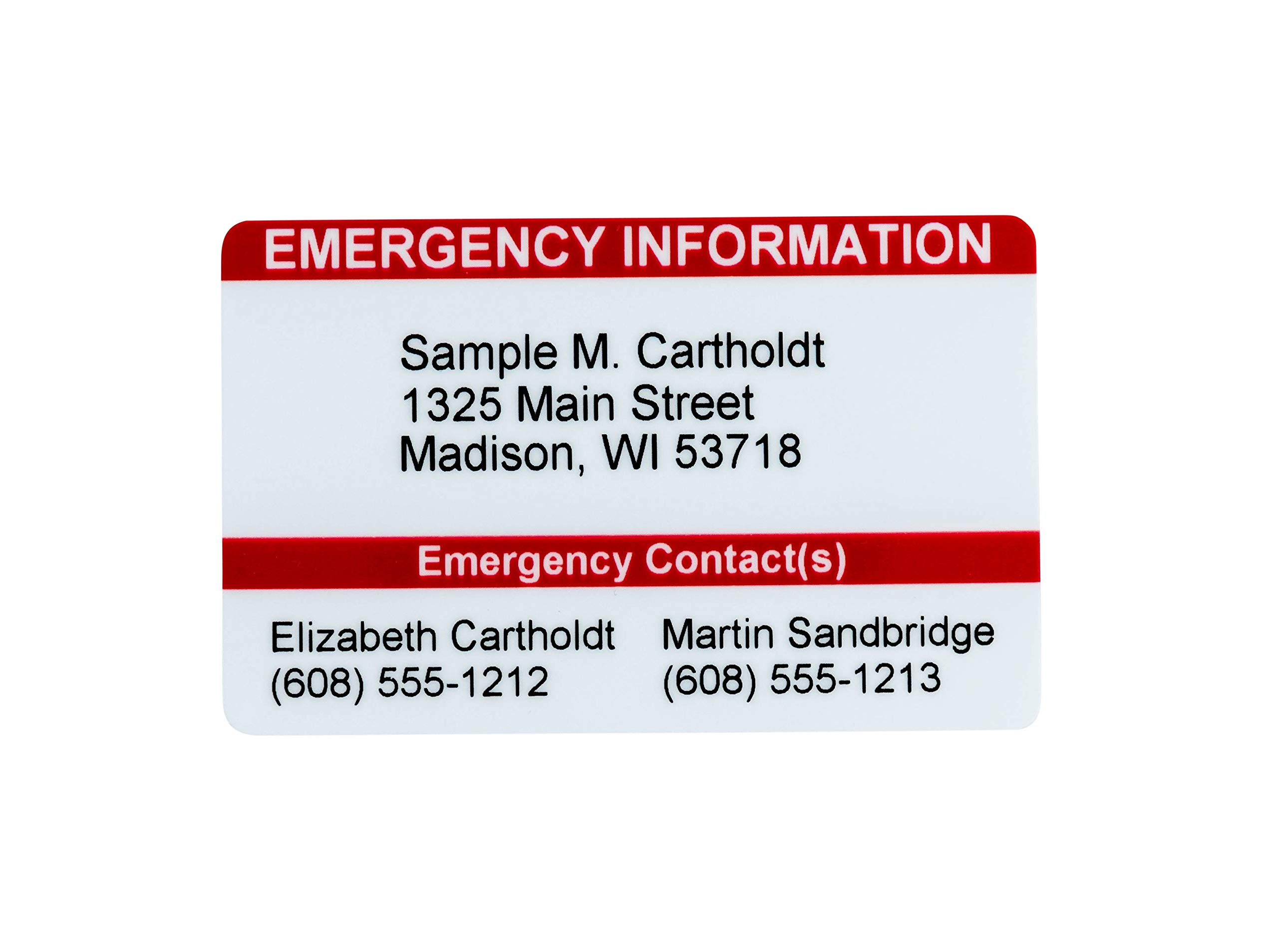Medical Alert Card 5 Pack Medical Condition and Emergency Contact ID Wallet Card Folding