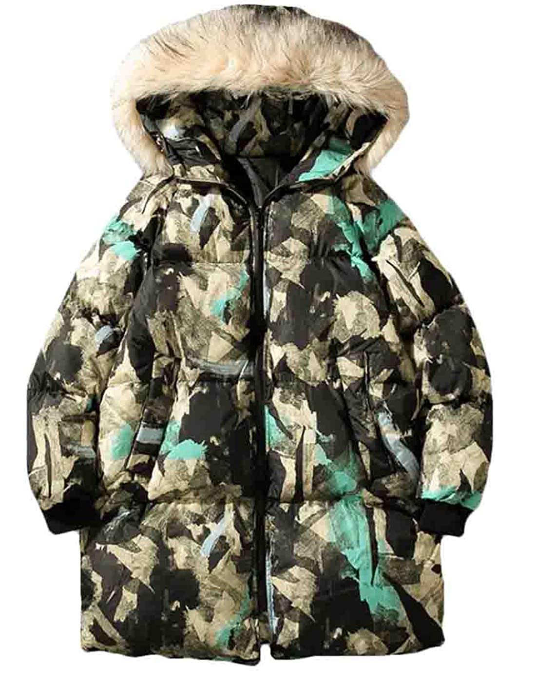 YYear Mens Hooded Quilted Padded Thicken Camo Casual Winter Hip-hop Faux Fur Collar Puffer Jacket