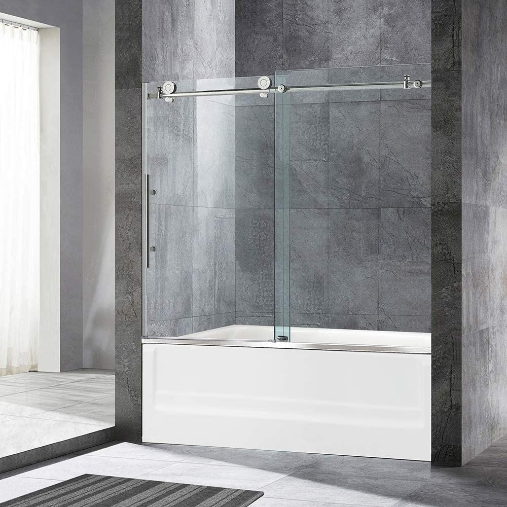 WOODBRIDGE MBSDC6062-C Frameless Sliding Bathtub 56 -60 Width, 62 Height, 3 8 10 mm Clear Tempered Glass Finish, C-Series 60 x62 , Chrome, 60 x 62 III