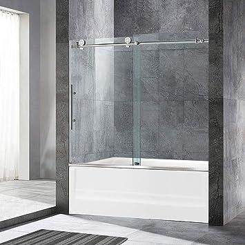 Woodbridge Mbsdc6062 C Frameless Sliding Glass Tub Door 56 60 W X 62 H Chrome Finish Amazon Com