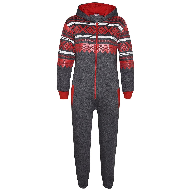 A2Z 4 Kids® Kids Fleece Onesie Girls Boys Aztec Snowflake Print All in One Jumsuit Playsuit Nightwear New Age 7 8 9 10 11 12 13 Years