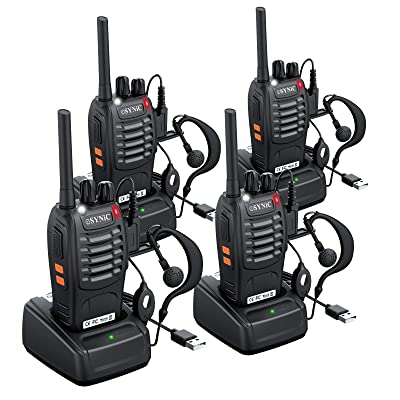 eSynic 4 pcs Rechargeable Walkie Talkies with Earpieces Long Range Two-Way Radio 16 Channel with Flashlight walky Talky Handheld Transceiver USB Charging Included