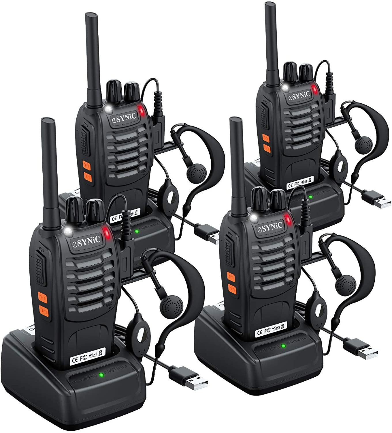 Long Distance 2 Way Radios Walkie Talkies 4 Pack Work FRS Walkie Talkies with Earpiece and Mic Set Headsets USB Charger Battery NOAA Weather Radio 4 Rechargeable Walkie Talkies for Adults Long Range