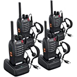 ESYNIC Rechargeable Walkie Talkies Long Range 4 Pack Two Way Radio Walky Talky with Earpieces Flashlight 16 Channel FM…