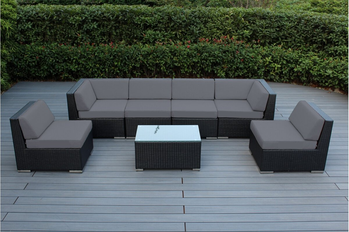 Amazon com ohana 7 piece outdoor patio furniture sectional conversation set black wicker with gray cushions no assembly with free patio cover garden
