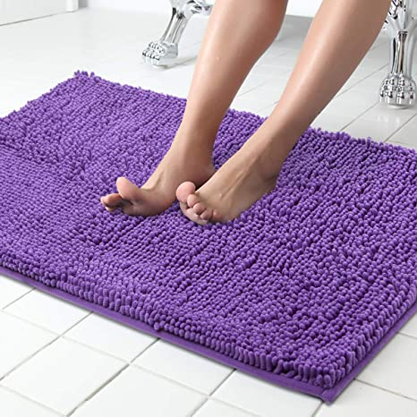 Amazon Com Itsoft Non Slip Shaggy Chenille Soft Microfibers Bath Mat For Bathroom Rug Water Absorbent Carpet Machine Washable 34 X 21 Inches Lilac Home Kitchen
