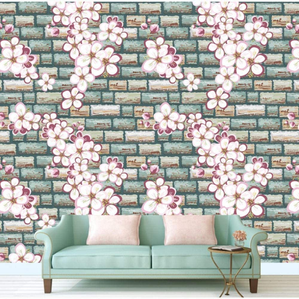 Amazon Com Dalxsh Wallpaper Fashion Brick Wall Splash Art Romance Floral Wallpaper 3d Stereo Tv Backdrop Bedroom Bathroom Living Room Mural 350x250cm Kitchen Dining