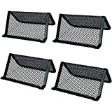 4 Pack Business Card Holder Mesh Card Stand Desk Desktop Organizer Black Large Capacity for Office Name Card