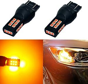 Alla Lighting T20 7440 7443 Amber Yellow LED Bulbs Xtreme Super Bright 7441 7440NA 7444NA WY21W LED Bulb High Power 3035 21-SMD 12V LED 7443 Bulb for Car Truck Turn Signal Blinker Lights