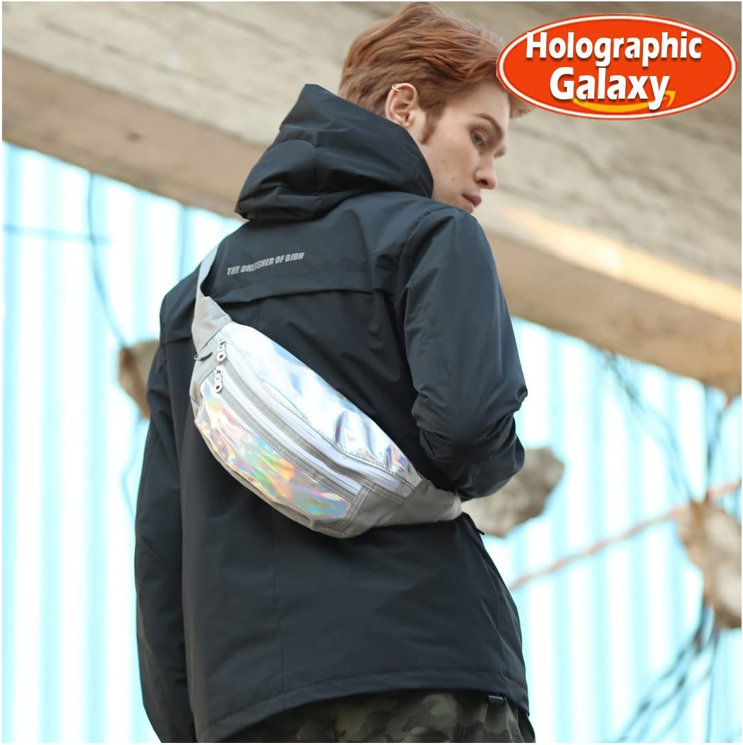 BJLFS Holographic bum bag, fanny pack for for women, men and kids| with Adjustable Belt can be used as waist bag, chest bag or crossbody bag,