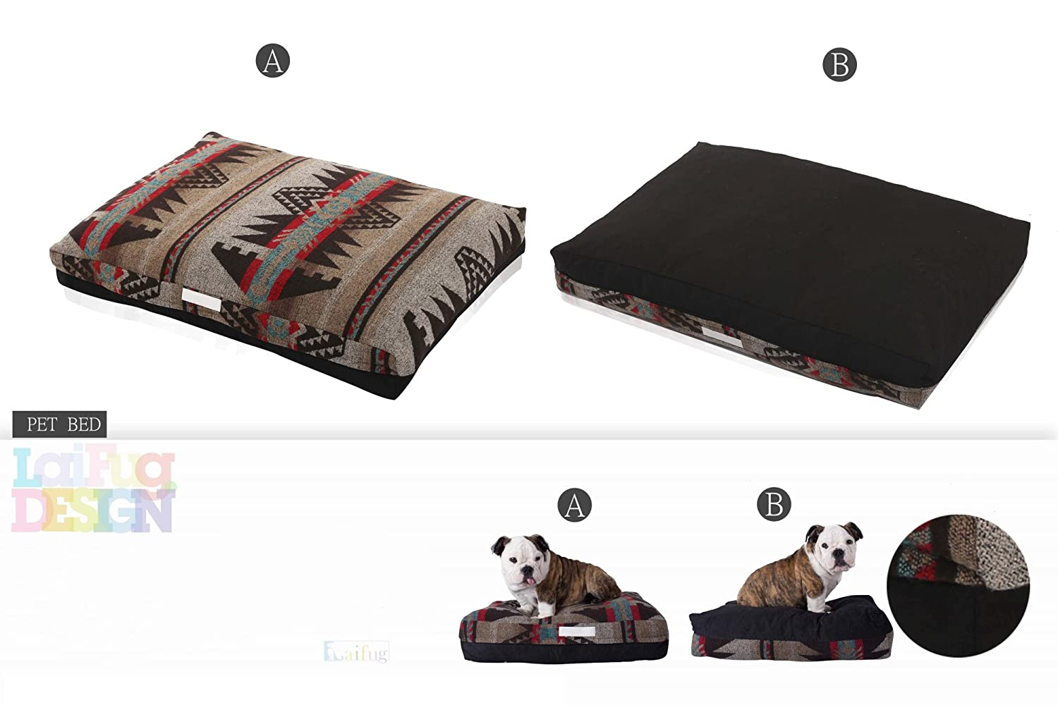 Amazon.com: Laifug Pet/Dog Bed with Removable Washable Cover(Small 23x18x5,Indian Style/Black) Limited Edition Resurrection: Pet Supplies