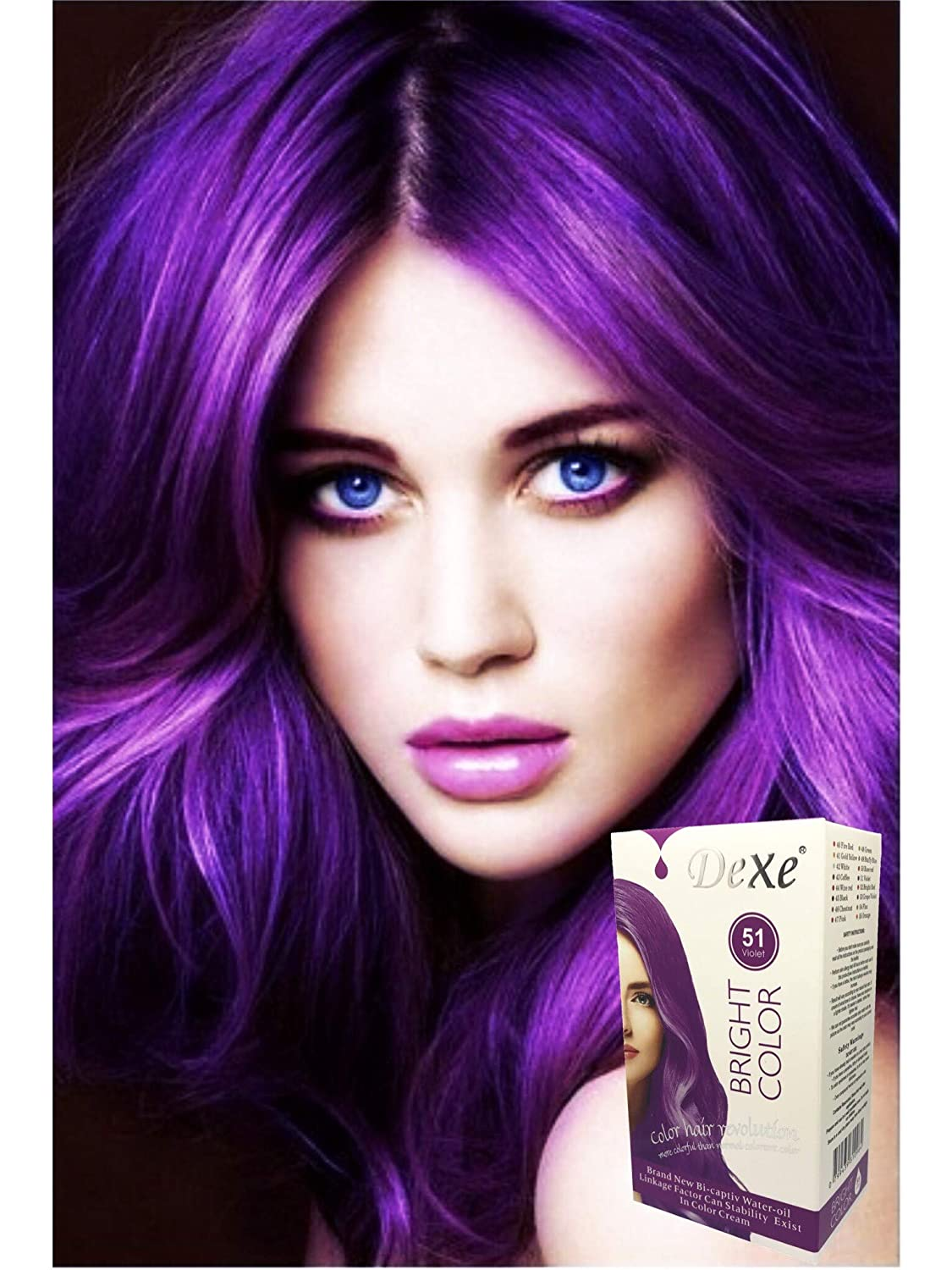 Dexe Bright Color Bright Violet 180 ml, Revolutionary Hair color cream,  Permanent hair color Hair dye,