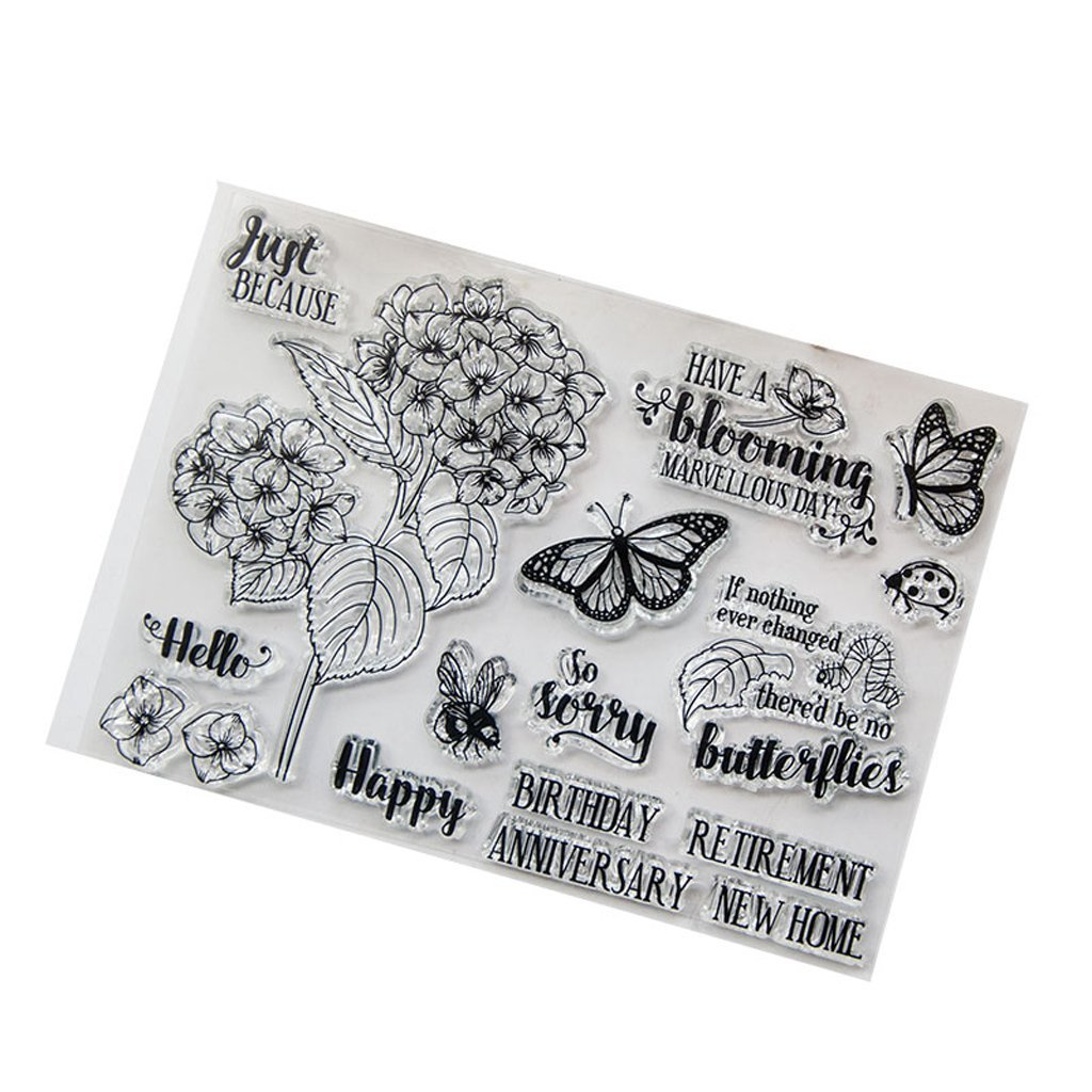 Yevison Clear Silicone Stamp Sheet Printing Scrapbooking Embossing Stamper Transparent Cling Seal for DIY Scrapbook Photo Albums Paper Notebook Card Making Art Craft Happy Anniversary & Butterflies & Flowers Durable and Useful