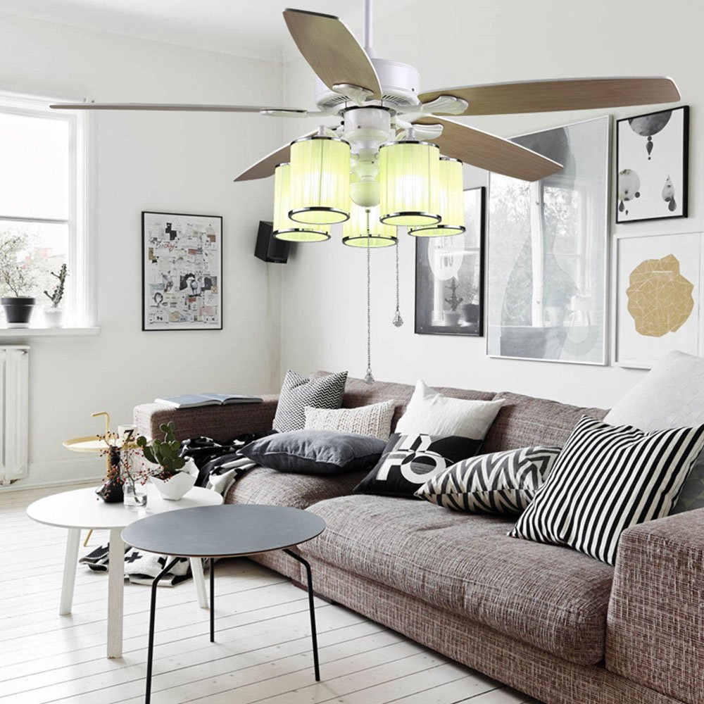 Tropicalfan Modern Ceiling Fan With 5 Beige Cloth Cylinder Light ...