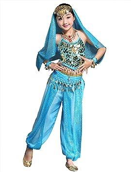 BellyQueen Cojunto Danza Vientre Oriental Belly Dance Traje de Disfraz Carnaval Fiesta Set 7 para Nña 8-11 Años - Azul