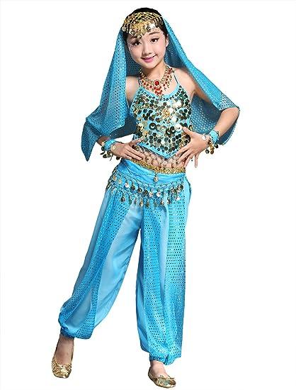 BELLYQUEEN Maillot Danza de Vientre Traje de Danza 7 Piezas Top Pantalones Accesorios para Fiesta Carnaval Disfraz Niña 6-8 Años - Azul
