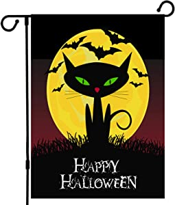 DEN LONG Welcome Small Halloween House Garden Flag, Moon Cat Ghost Halloween Garden Yard Flag Vertical 12.5 x 18 Inches Double-Sided Hessian Yard Outdoor Decoration
