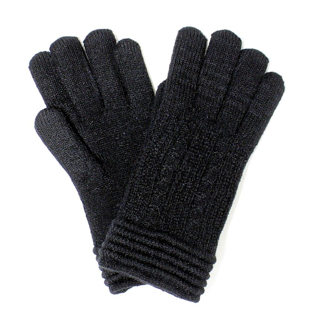 LL. Womens Warm Winter Knit Fashion Gloves, Fleece Lined- Many Styles (Black Rib)