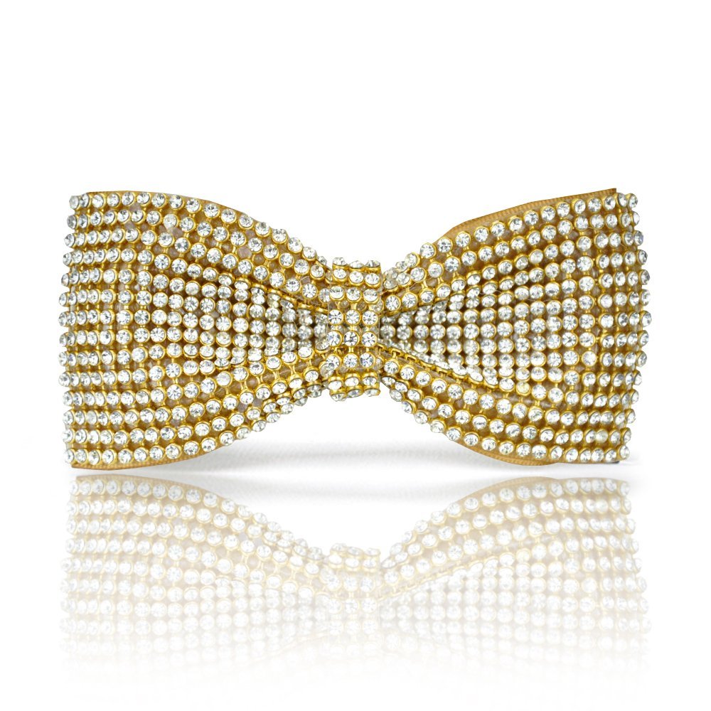 Gold bow tie, Gold Crystal bow tie, Gold Rhinestones bow tie, Bling bow tie, Gold bow tie for men