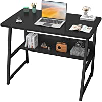 "Homfio Computer Desks for Home Office 32"" Modern Sturdy Writing Desk with Bookshelf Study Table Desk with Metal Legs…"