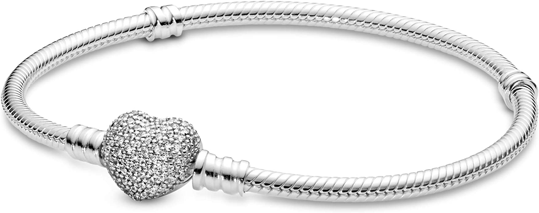 PANDORA Jewelry Moments Sparkling Heart Clasp Snake Chain Charm Cubic  Zirconia Bracelet in Sterling Silver