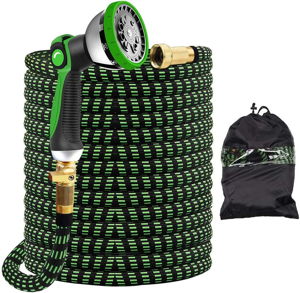 "ecoeco Expandable Garden Hose 100ft, Flexible Water Hoses Extension No Kink Lightweight Expandable Garden Hose Pipes with Spray Nozzle 3/4"" Solid Brass Fittings Fabric Durable"