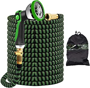 """IIET 150FT Garden Hose, 150FT Expandable Garden Hose with 10 Function Spray Nozzle - Durable No-Kink & Lightweight Flexible Water Hose with 3/4"""" Solid Brass Fittings & Extra Strength Fabric"""