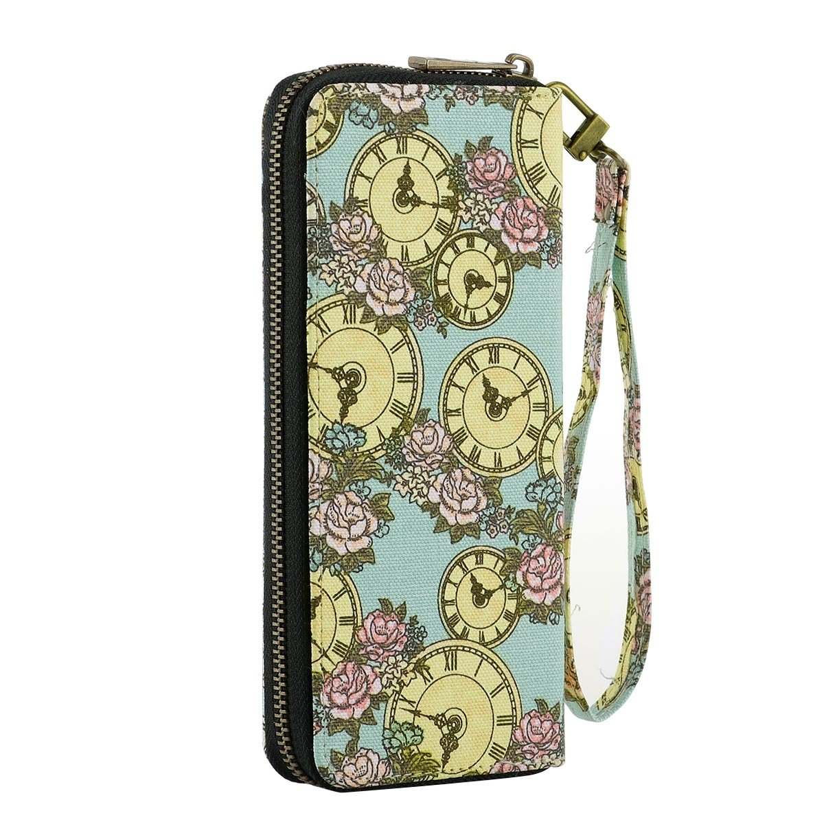 Wallets for Women Large Capacity Lady Clutch Purse Card Holder Organizer with Wristlet for Card, Cellphone, Coin, Cash (Clock)
