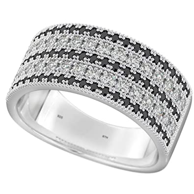 6bc3b17893cb7 BestToHave-Ladies Sterling Silver Ring With Black/White Cubic ...