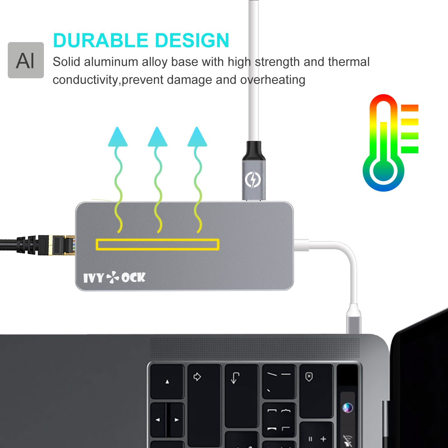 USB C Hub, IVYOCK Type C Hub Dongle with HDMI, Gigabit Ethernet, Type-C Charging Port, USB 3.0/2.0 Ports, SD/Micro SD Card Reader, USB-C Adapter for MacBook Pro/Pixelbook/Dell XPS/Yoga and More by IVYOCK (Image #6)