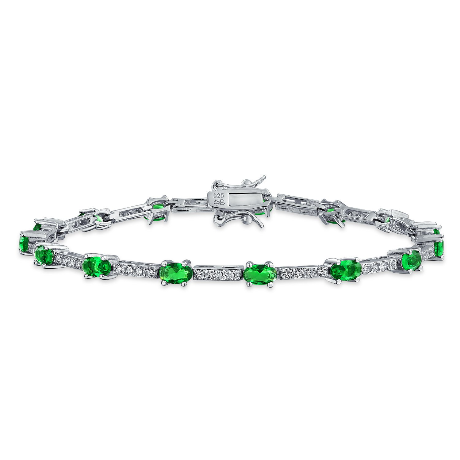 Vintage Style Simulated Emerald CZ Tennis Bracelet Silver