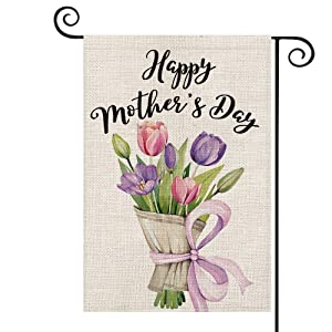 AVOIN Happy Mother's Day Watercolor Flower Tulips Garden Flag Vertical Double Sided, Holiday Party Yard Outdoor Decoration 12.5 x 18 Inch
