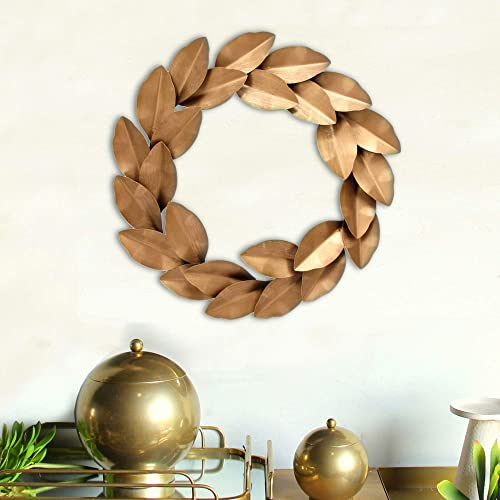 SPAZIO Laurel Wreath Wall Decor, One Size, Antique Gold