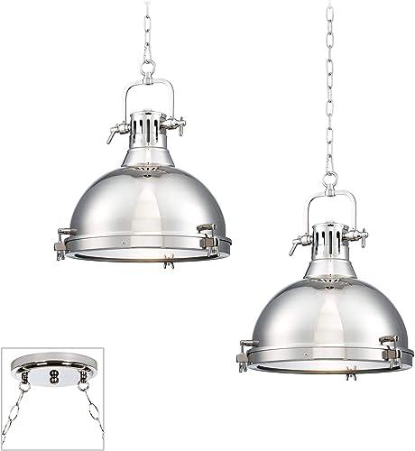 Arlo Chrome Dome Swag Pendant Chandelier Modern Industrial 2-Light Fixture