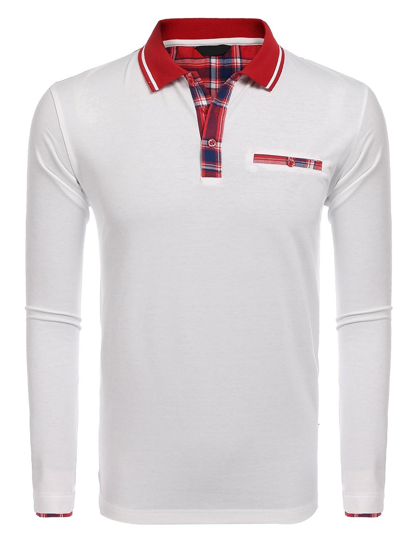 9fa89ff1be Finejo Herren Poloshirt Langarm Einfarbig Winter Polo Kragen Freizeit Sport  Men's Polohemd