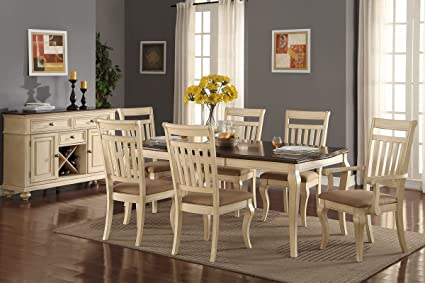 Dining Room Formal Traditional 7pc Dining Set Cream Wood Finish Fabric Seat  Chairs Table W Leaf