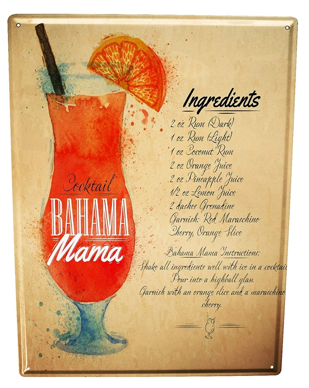 Tin Sign Nostalgic Alcohol Retro Bahama Mama
