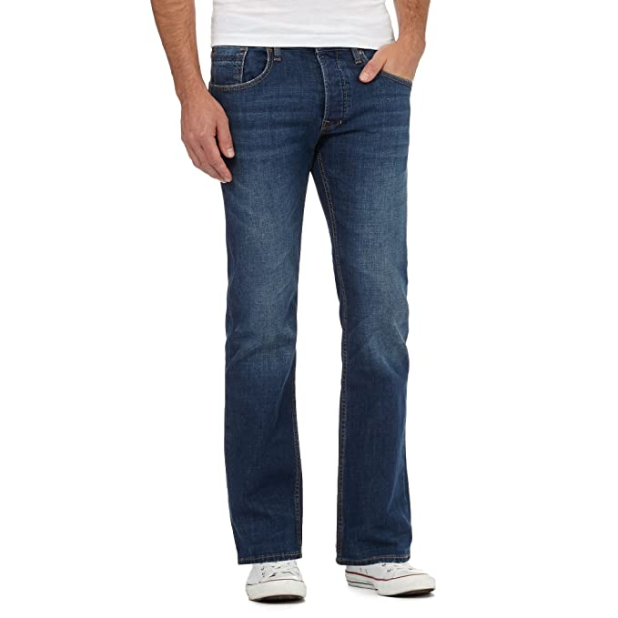9b696e49810 Red Herring Men Dark Blue Mid Wash Bootcut Jeans 28R  Red Herring   Amazon.co.uk  Clothing