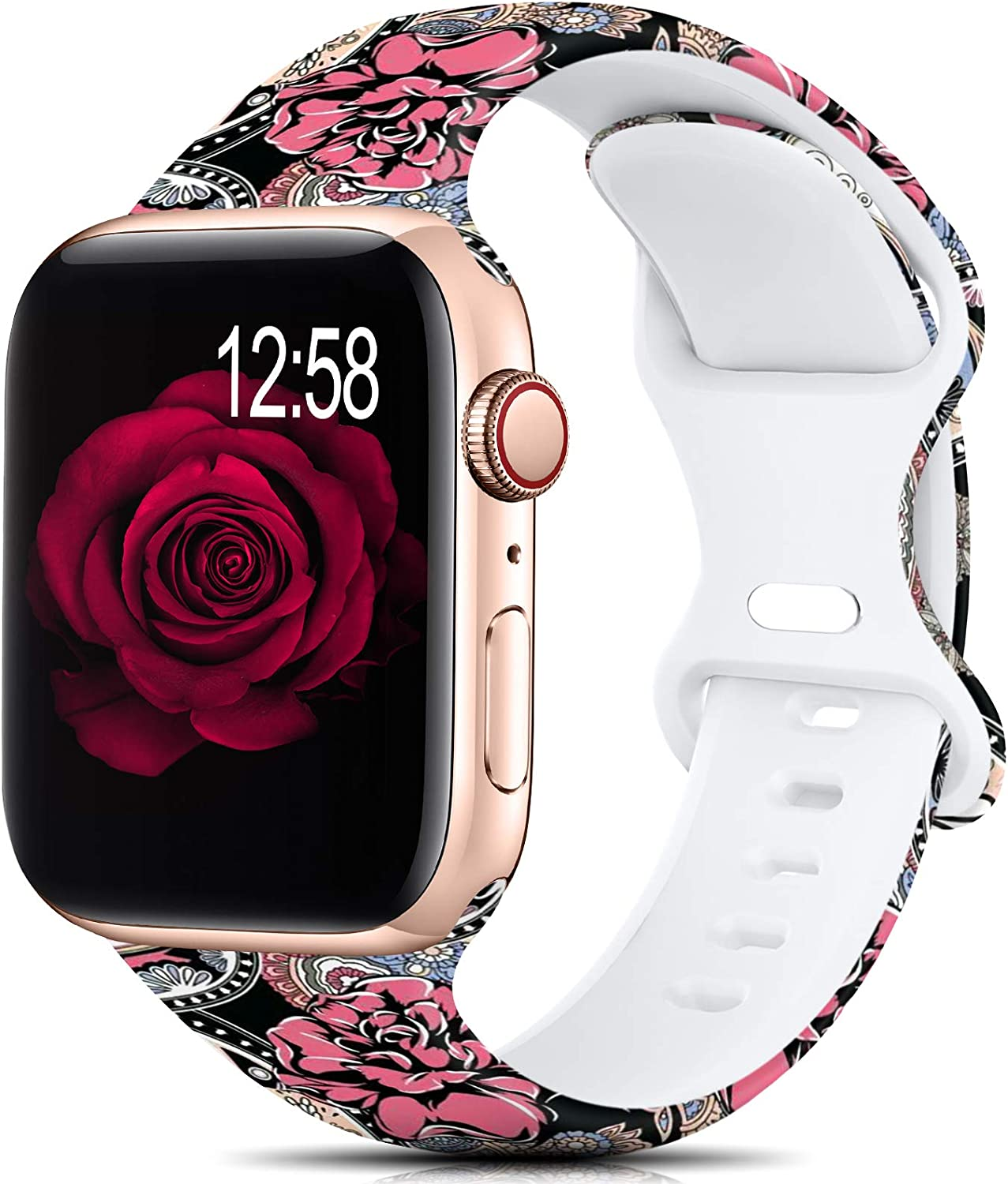 Sport Band Compatible with Apple Watch Bands 38mm 40mm 42mm 44mm Size for Women Men Girls,Floral Silicone Printed Fadeless Pattern Band for iWatch series 6 5 4 3 2 SE