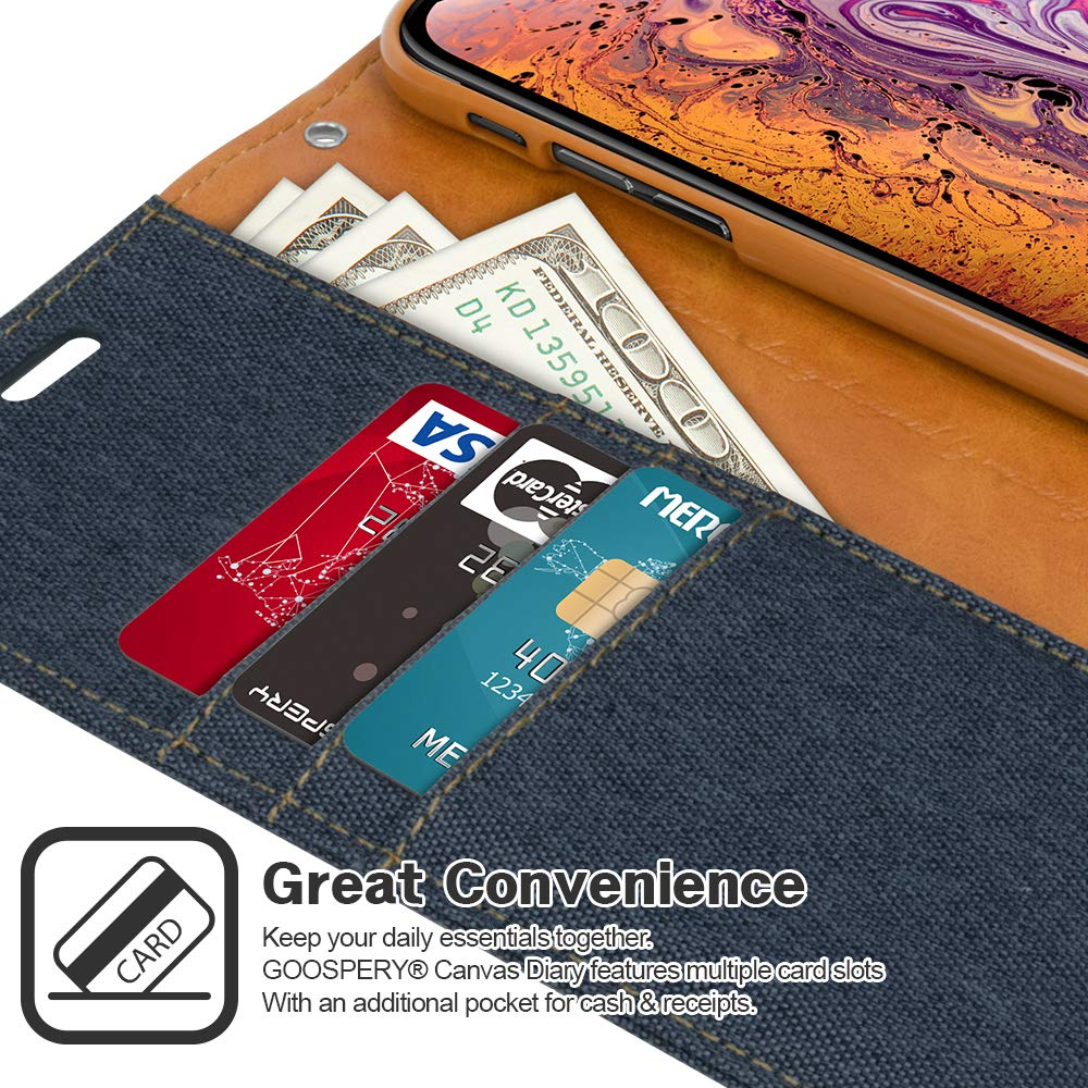 Iphone Xs Max Case Drop Protection Goospery Canvas Samsung Galaxy S6 Diary Navy Denim Material Wallet Card Slots Stand Flip Cover Magnetic Closure For