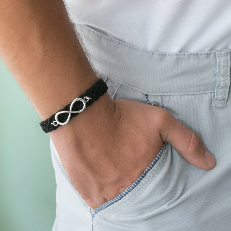 Men's Bracelet - Men's Leather Bracelet - Men's Infinity Bracelet - Men's Cuff Bracelet - Men's Jewelry - Guys Jewelry - Guys Bracelet - Jewelry For Men - Bracelets For Men - Male Jewelry - Male Bracelet