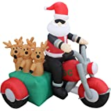 5 Foot Tall Christmas Inflatable Santa Claus and Three Reindeer on Motorcycle Outdoor Indoor Decoration