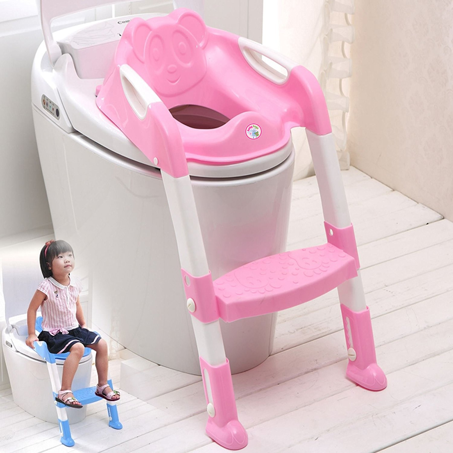 Babyhugs - Baby Toddler Potty Training Toilet Ladder Seat Steps Assistant Potty For Toddler Child Toilet Trainer (Pink) DA-6815